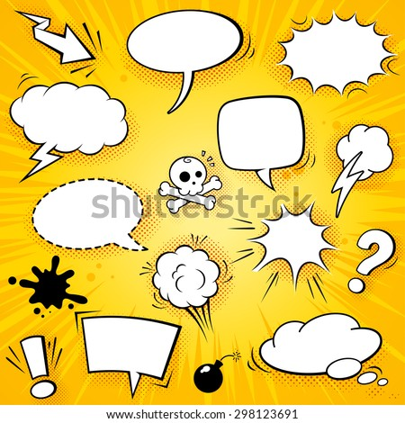A collection of funny balloons for comic speeches and also sound effects vector illustrations