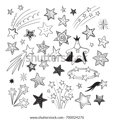 A collection of hand-drawn different stars on a white background