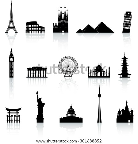 Shutterstock A collection of icons of famous places and monuments around the world
