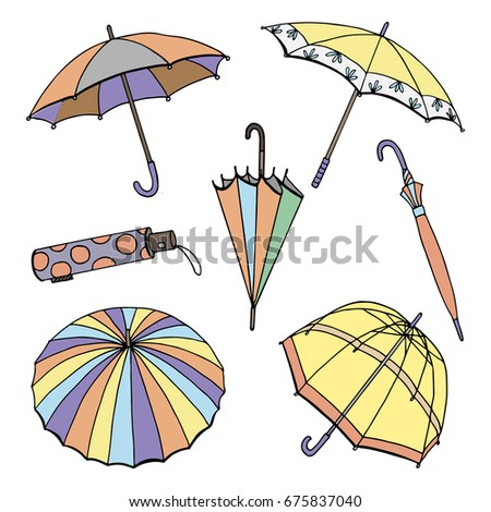 A collection of images of the vector format of umbrellas. Line and colored silhouette of umbrellas, isolated on white background. Doodle Set