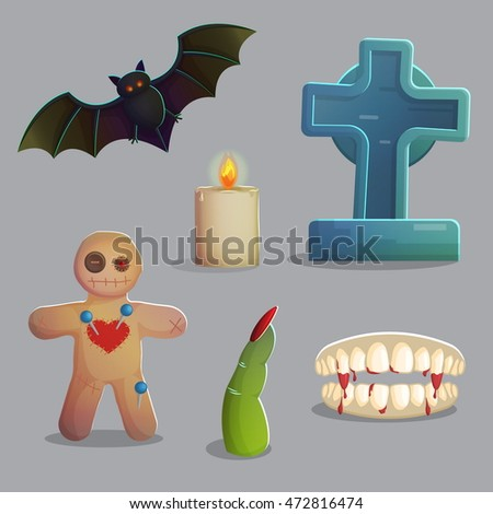 a collection of items spooky