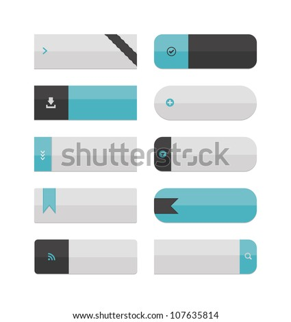 A collection of large web buttons, with plenty of space for text! Flat color, no gradients, global swatches used.