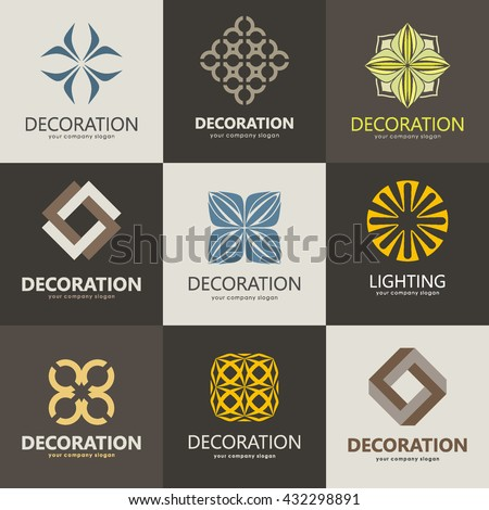 A collection of logos for interior, furniture shops, decor items and home decoration. Set 2