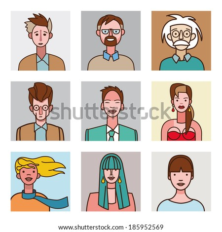 A collection of nine avatar set for men and women faces on comic style. Very useful for social networks, mobile application or web design.
