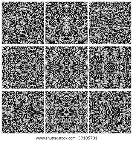 A collection of nine, hand-drawn, seamless abstract backgrounds or patterns in vector format.