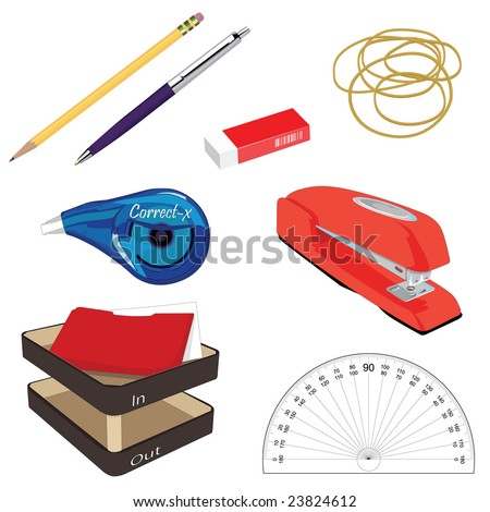 A collection of Office Stationary - stock vector