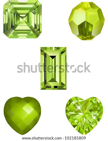 A collection of Peridot colored crystal vector illustrations.  Asscher cut vector, faceted cut bead, Emerald Cut, Heart cut and Faceted Heart.  Shapes are grouped for ease  of use.