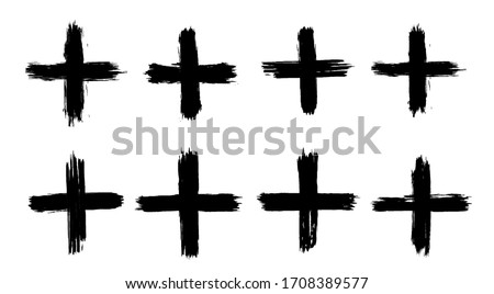 A collection of plus signs in grunge style. 8 highly detailed and different crosses. High quality manually traced. Plus black isolated on white background, vector illustration. Photo stock ©