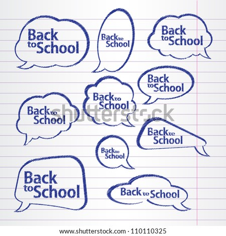 A collection of school style speech bubbles. Background from a writing-book. Vector illustration. Grouped for easy editing.