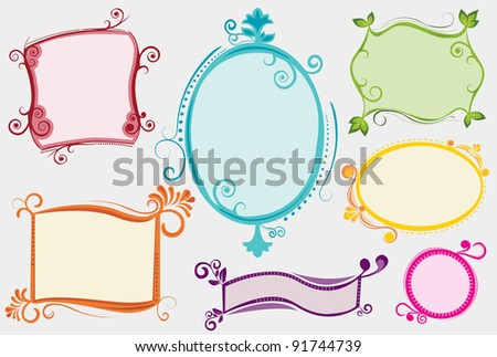 A collection of seven colorful labels/ banners/ placards for your message, in a funky/ retro/ hand drawn style. All labels are neatly grouped on separate layers.