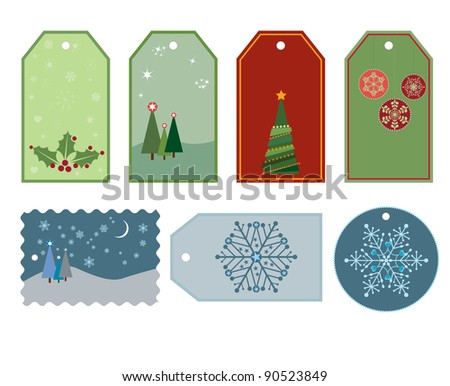 A collection of seven tags or labels for your Christmas gifts.