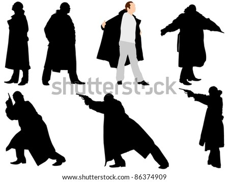 A collection of silhouettes of gangsters. Vector