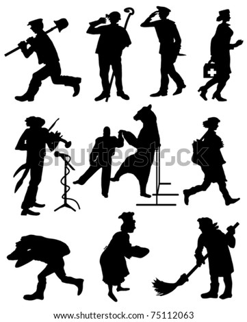 A collection of silhouettes of people from different professions