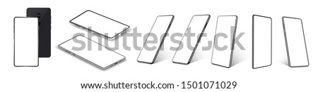 A collection of smartphones at different angles. Mobile phones isolated on white background, different sides of the Mockups. Smartphone generic device. 3D realistic gadgets. Rotated position. Vector