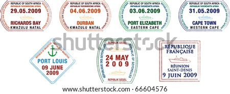 A collection of stylised vector African and island passport stamps on a white background.