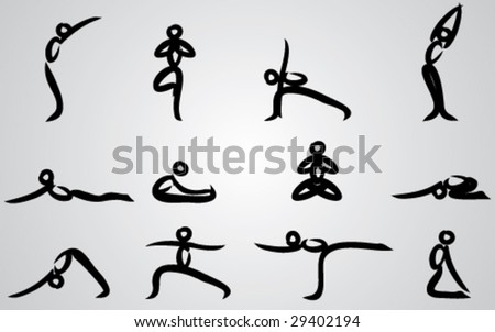 "A collection of ""sumi-e"" yoga poses."