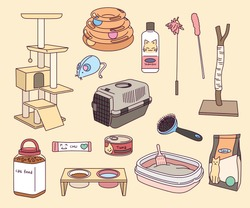 A collection of supplies for raising a cat. hand drawn style vector design illustrations.
