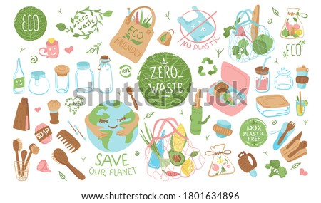 A collection of sustainable, reusable items and packaging. Conscious consumption. Zero Waste, glass jars, eco bags, string bag, wooden cutlery, brushes, menstrual cup, dishes. Flat vector illustration