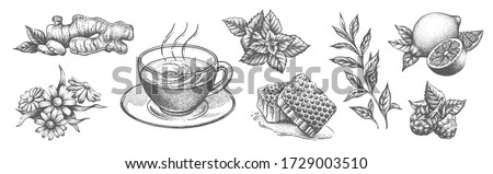 a collection of tea items on a