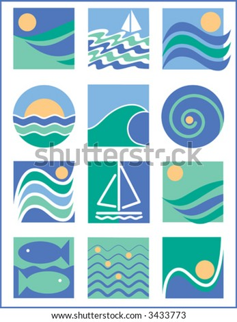 A collection of twelve stylized illustrations with a water theme.