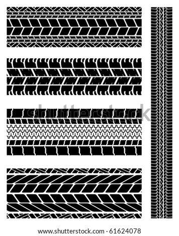 A collection of various motor car tyre tracks. - stock vector