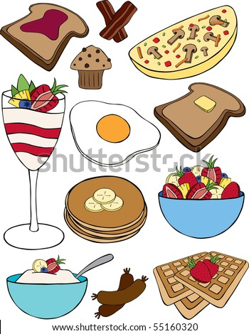 A collection of vector breakfast items.