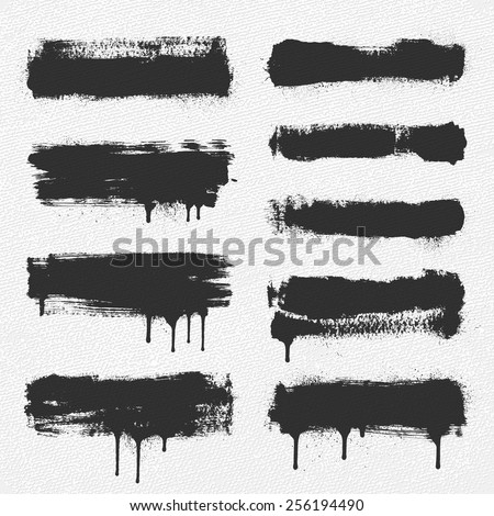 A collection of vector brush strokes. The dripping paint and the spray around the edges are separate objects for easy removal.