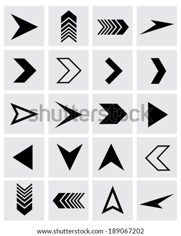 A collection of vector chevron and arrowhead design elements