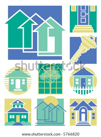 A collection of 9 vector illustrations with a home theme.