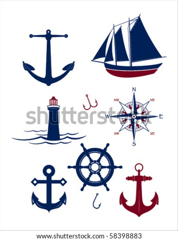 A collection of vector nautical icons