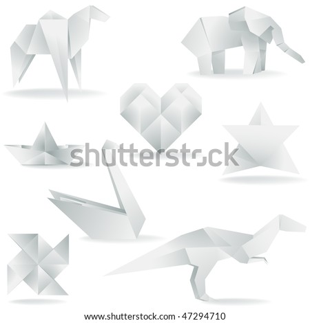 A collection of vector origami elements
