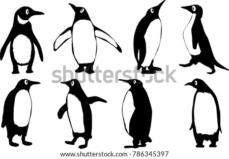 free penguin silhouette vector download free vector art stock