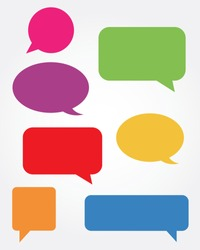 A collection of vector speech and thought communication bubbles