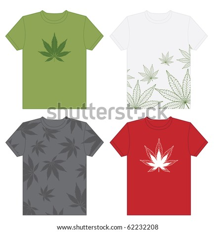 stock vector : A collection of vector t-shirts with cannabis leaf designs.