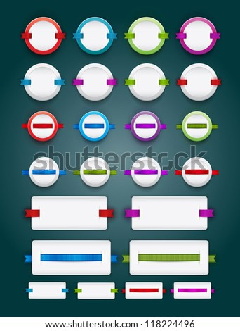 A collection of vector white blank plastic banners / badges with ribbons