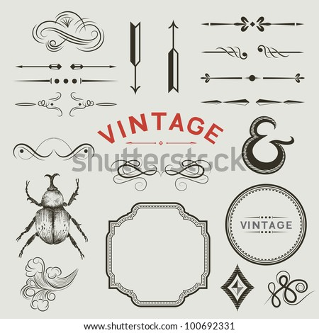 a collection of vintage  vector ...