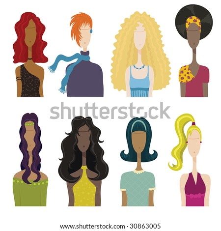 stock vector : A collection of women with different hairstyles and outfits.