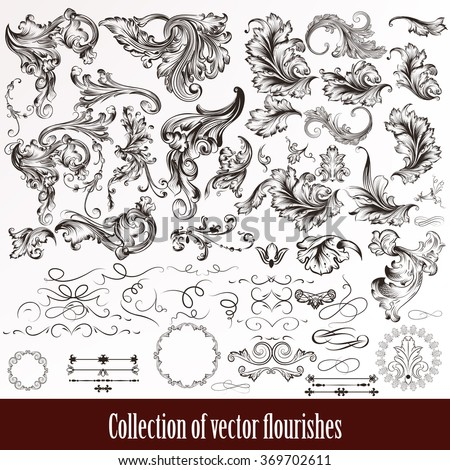 stock-vector-a-collection-or-set-of-vintage-styled-flourishes-filigree-drawn