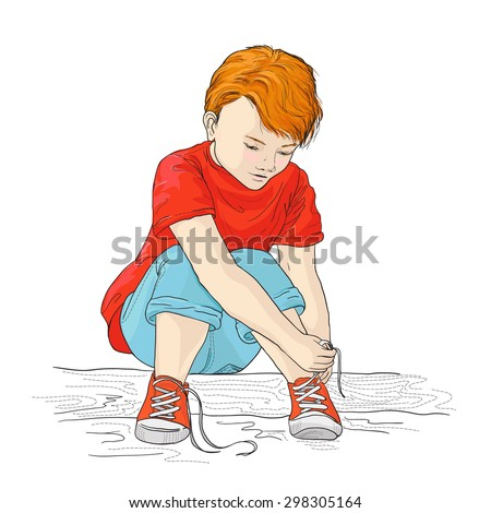 Shutterstock a color picture of a little boy tying his shoelaces