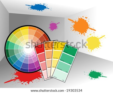 A color wheel and color swatches are in an empty room with paint splatters on the wall.