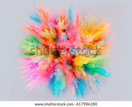 A colored explosion of powder. Flying in different directions powder for design and decoration. Vector illustration - Shutterstock ID 617986280