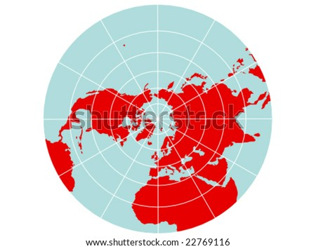 World map with latitude and longitude download free vector art a colored vector map of the northern hemisphere with a map grid that uses a polar gumiabroncs Image collections
