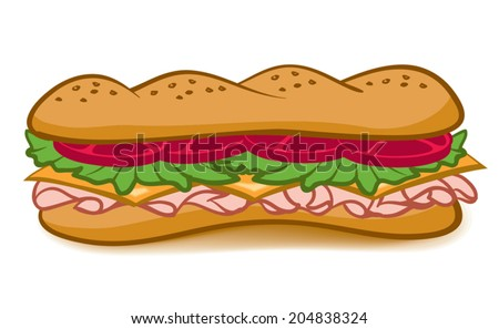 A colorful cartoon Sub Sandwich with lettuce tomato meat and cheese