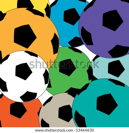 A colorful cluster of soccer balls background