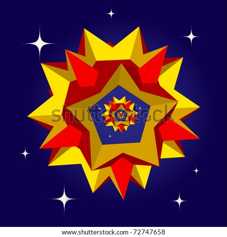 A colorful 3D star polyhedron on a night sky