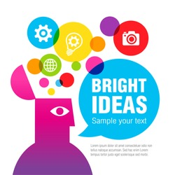 A colorful fountain of ideas from the head of a man. Vector illustration.