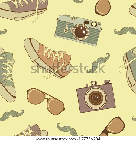 A colorful hipster icons seamless pattern - stock vector