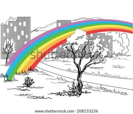 a colorful rainbow over a black