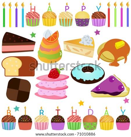 Happy Birthday Icons. Icons : Cake, Cupcake, Pie
