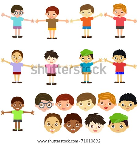 A colorful Theme of cute vector Icons : Little boys, Man, Kids (Male Set)